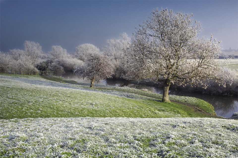 A photograph of a very heavy air frost in Granchester meadows by Cambridge photographer Richard Bowring