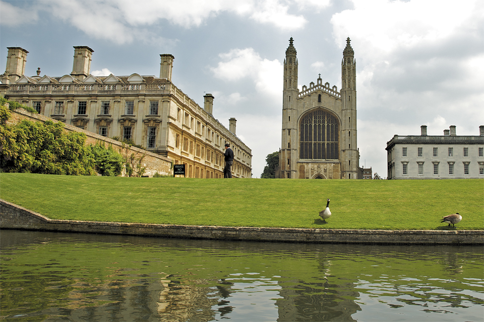 A photo of King's college chapel and Clare college taken from a Scudamore's self-hire punt by Cambridge photographer Richard Bowring
