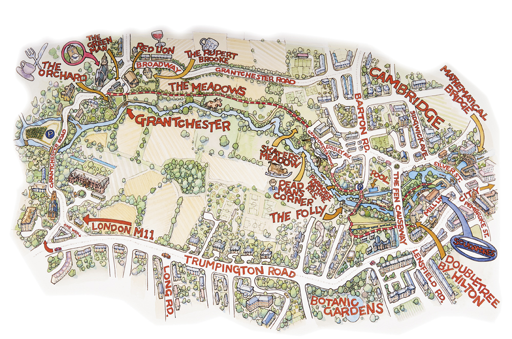 Illustrated map of Grantchester Meadows, Cambridge for Scudamores Boatyards
