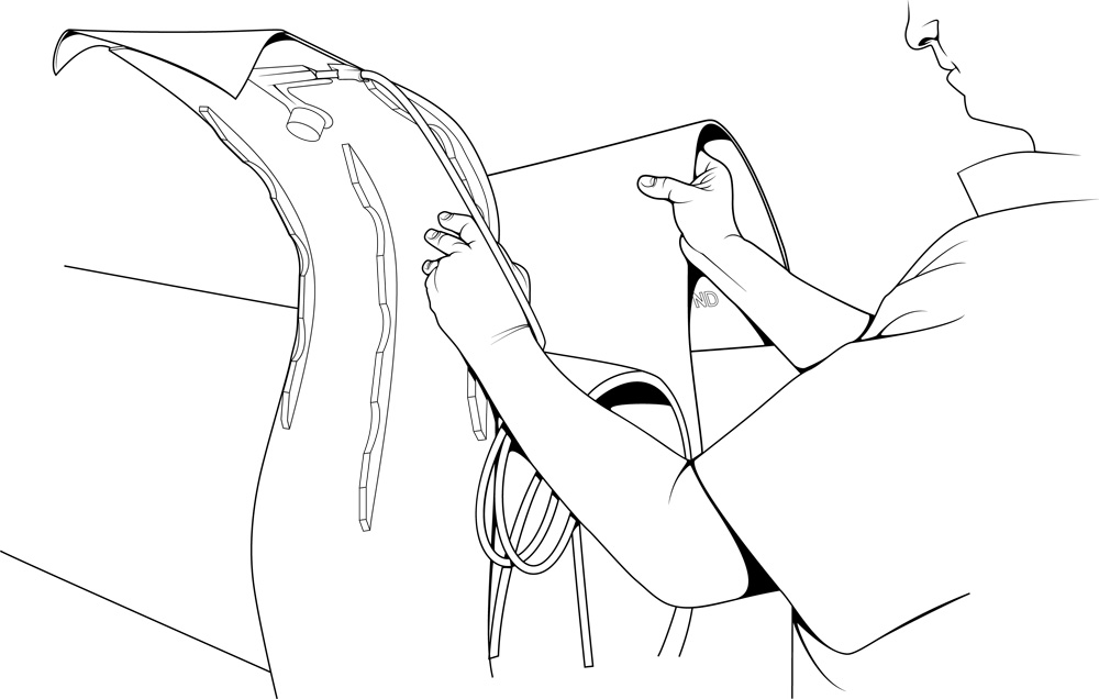 an illustration of a man preparing to wrap an electronically heated mat around a pipe in order to facilitate the joining process by cambridge illustrator Richard Bowring