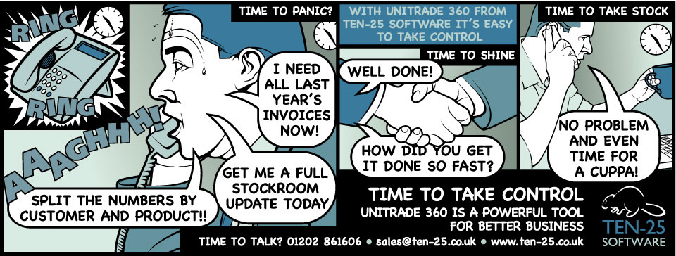 Cartoon advert for the software company Ten-25