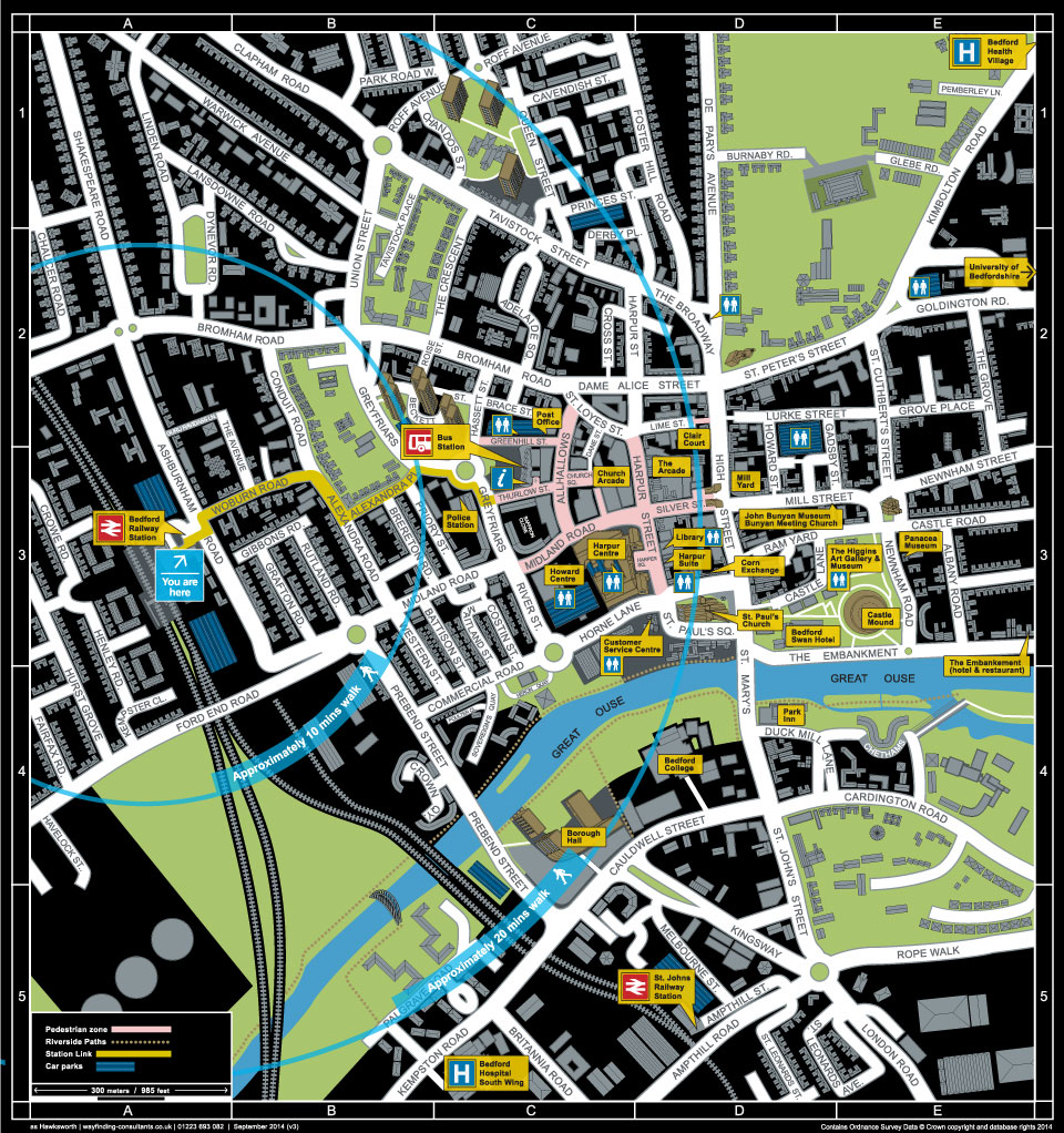 Map of central bedford by cambridge based mapmaker Richard Bowring