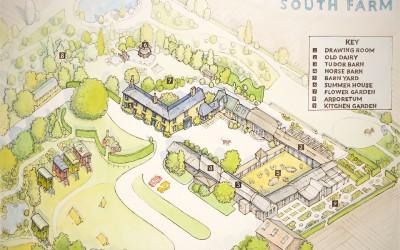 Map for the wedding venue South Farm