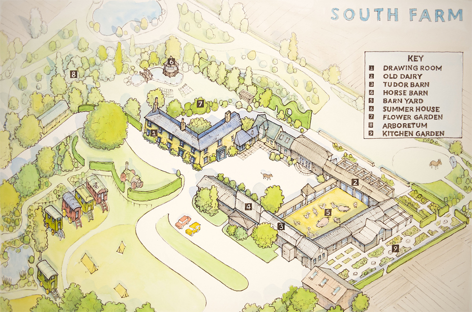 Illustrated map of South Farm