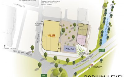 Illustrations of the Feethams Shopping development in Darlington