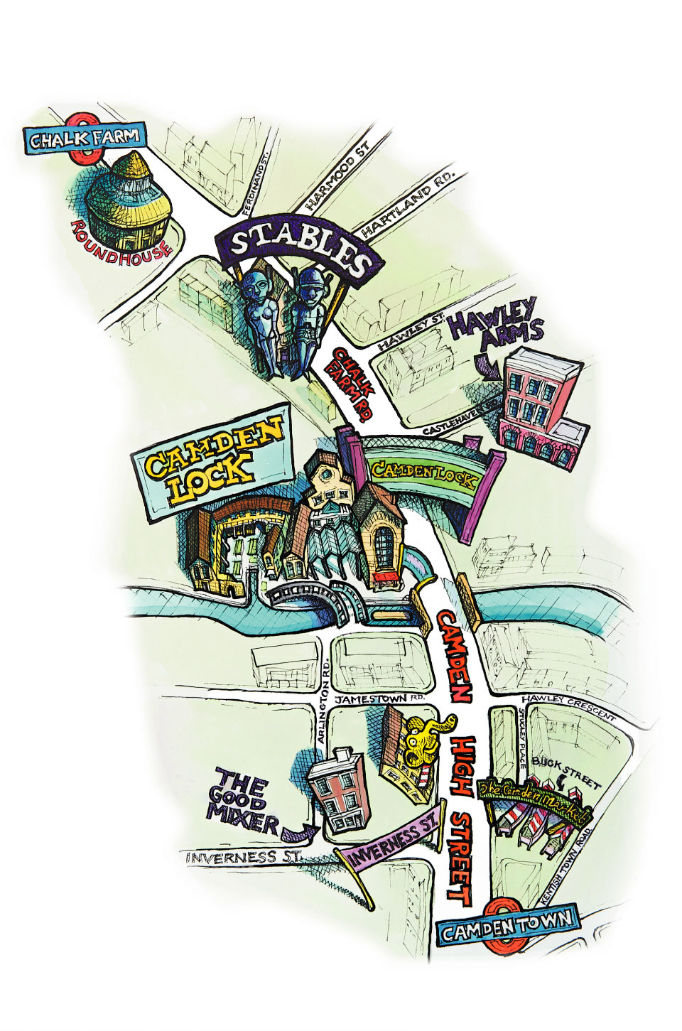 General map of the Camden Lock Market area.