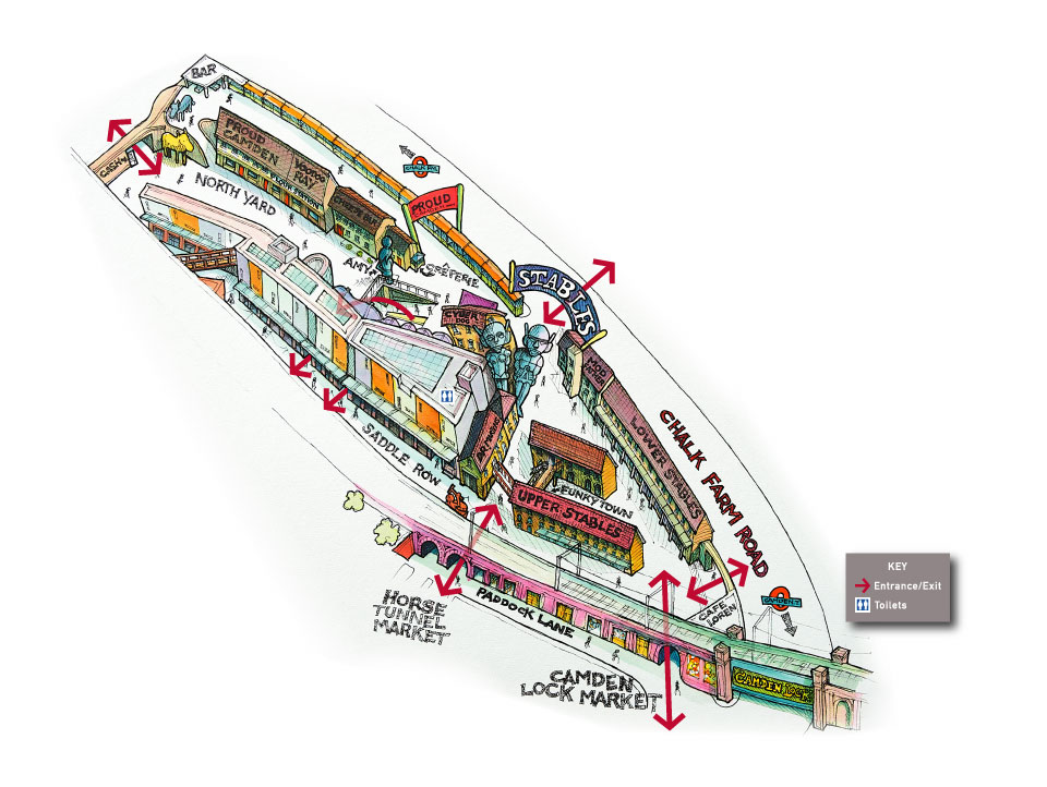 Illustrated map of the Stables Market, Camden Town