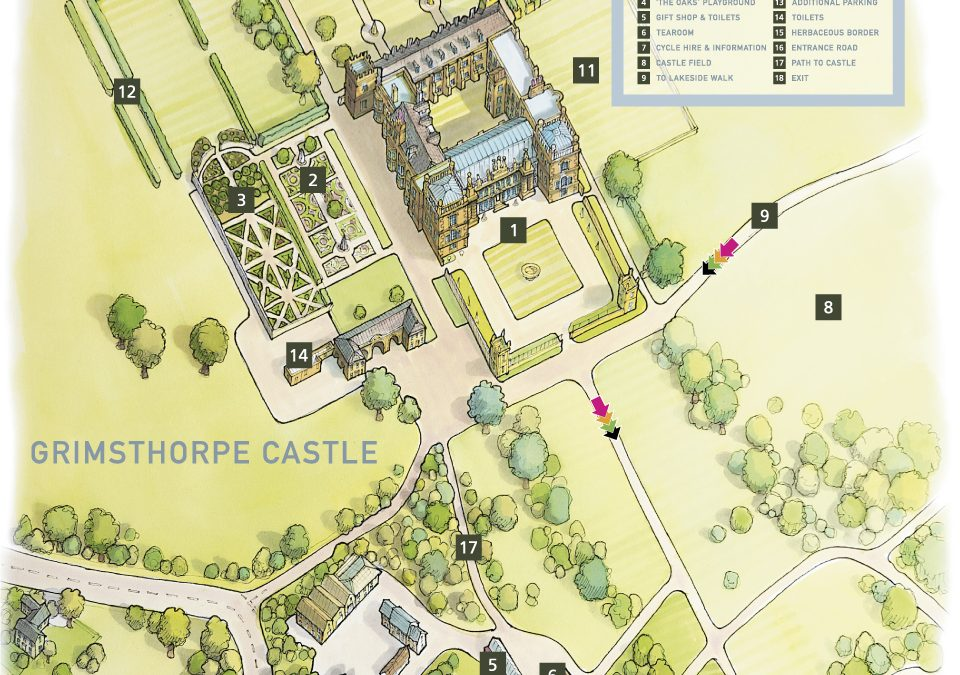 Hand drawn map of Grimsthorpe Castle