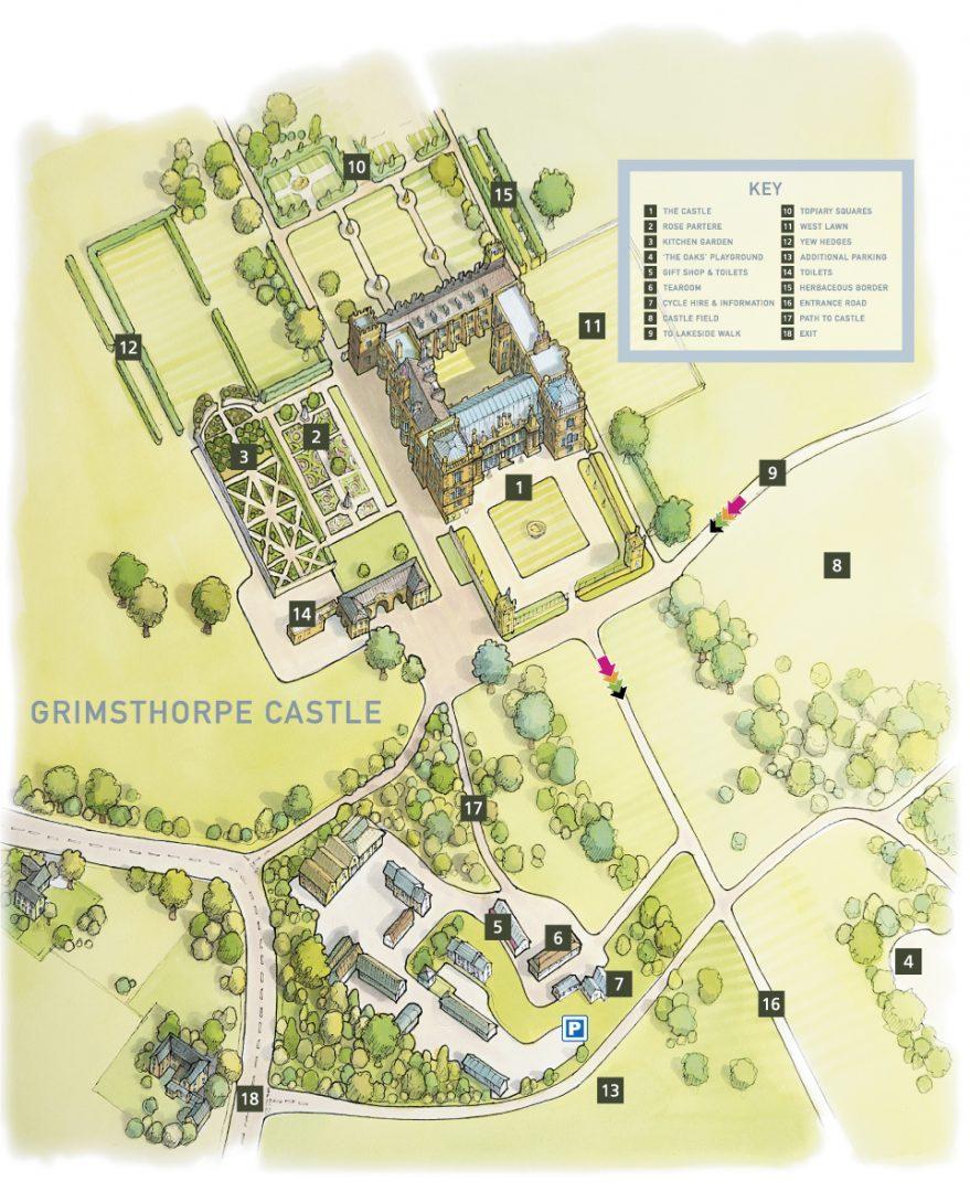 Illustrated map of Grimsthorpe Castle