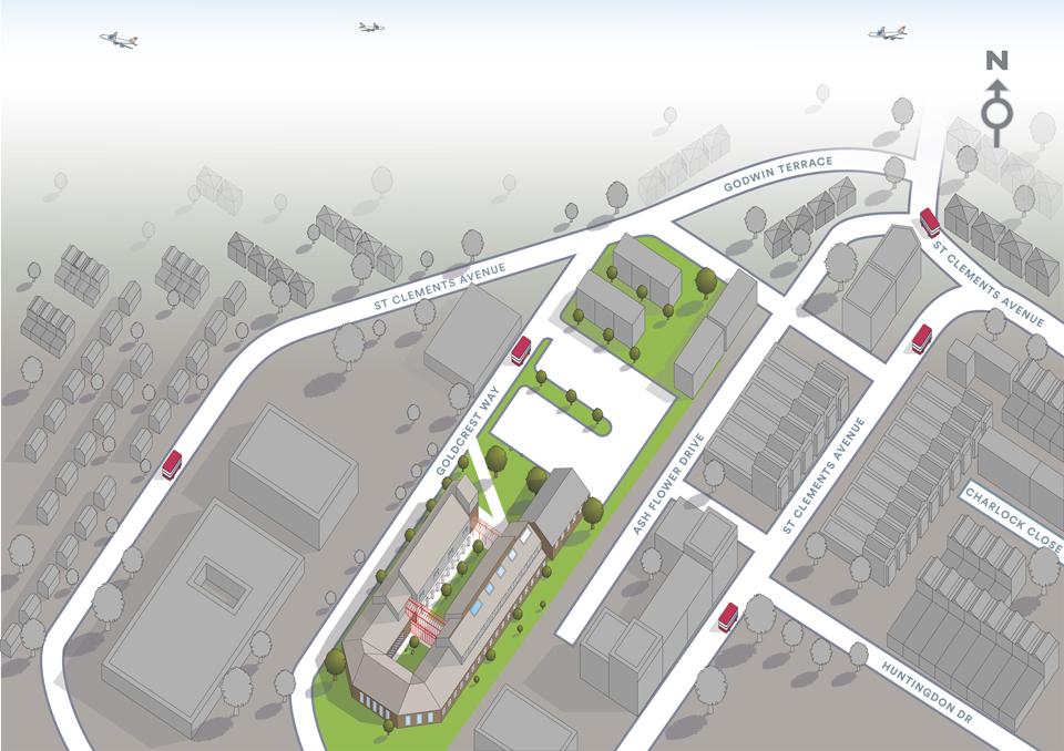Digital 3D illustrated map of LSBU Havering