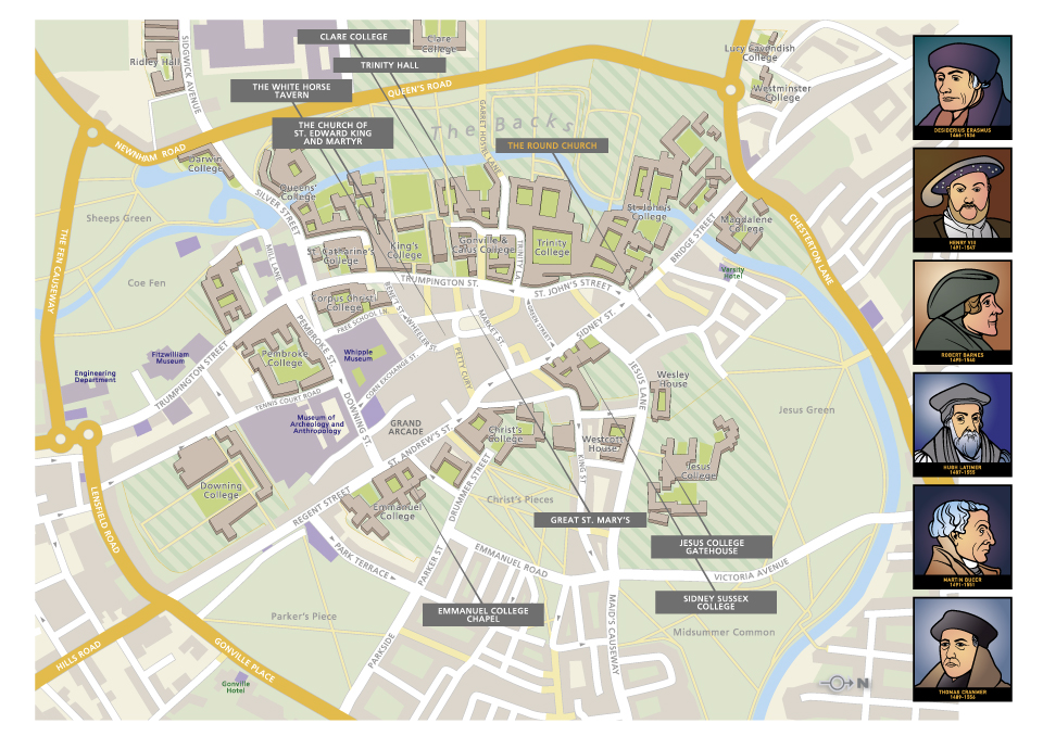 Illustrated map of the centre of Cambridge