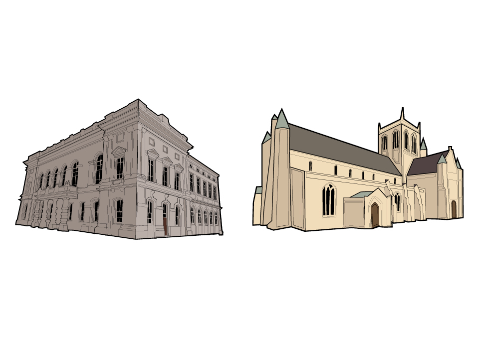 Digital illustrated map of Grimsby building illustrations