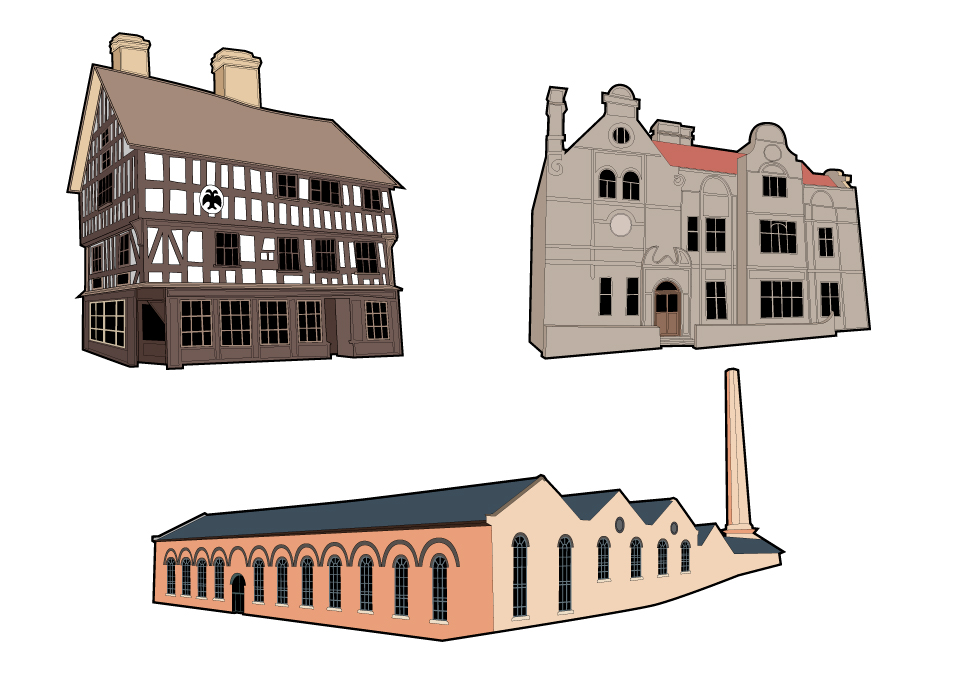 Digital building illustrations for illustrated map of Oswestry