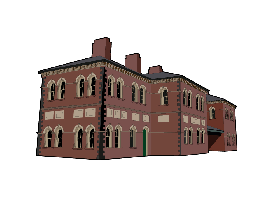 Illustration of the old railway station in oswestry