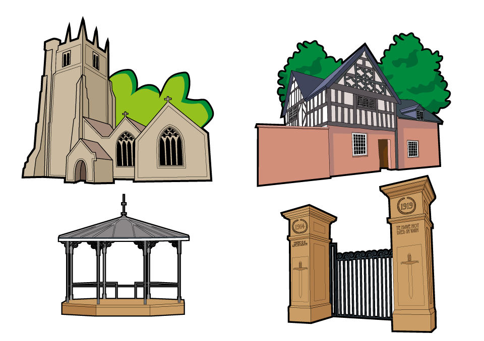 Illustrated map of Oswestry building illustrations
