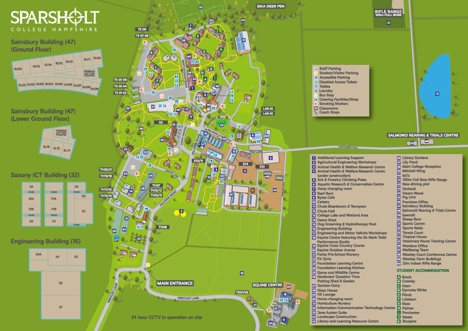 Illustrated map of Sparsholt College